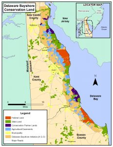 Map of Delaware Bayshore Conservation Land