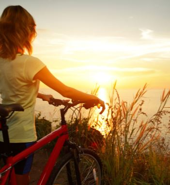 Child, Bike, Sunrise