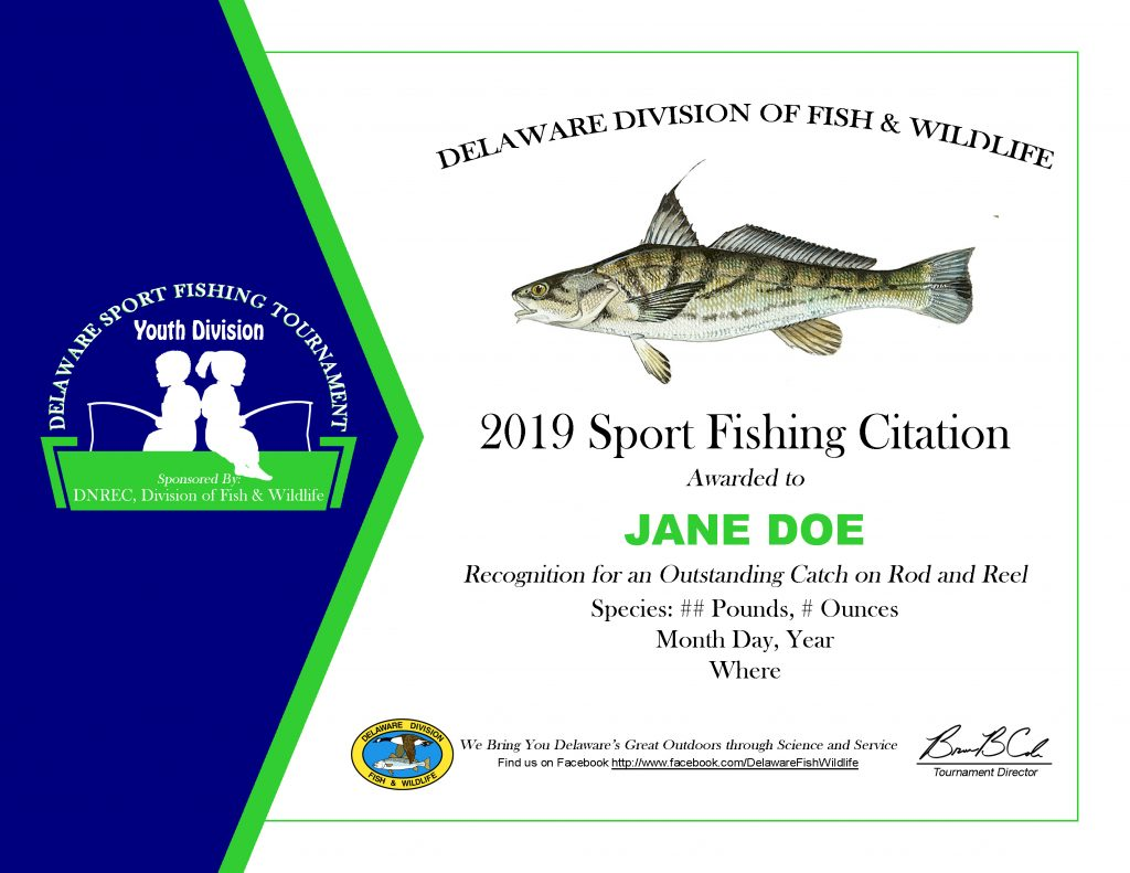 Youth Tournament Sport Fishing Citation