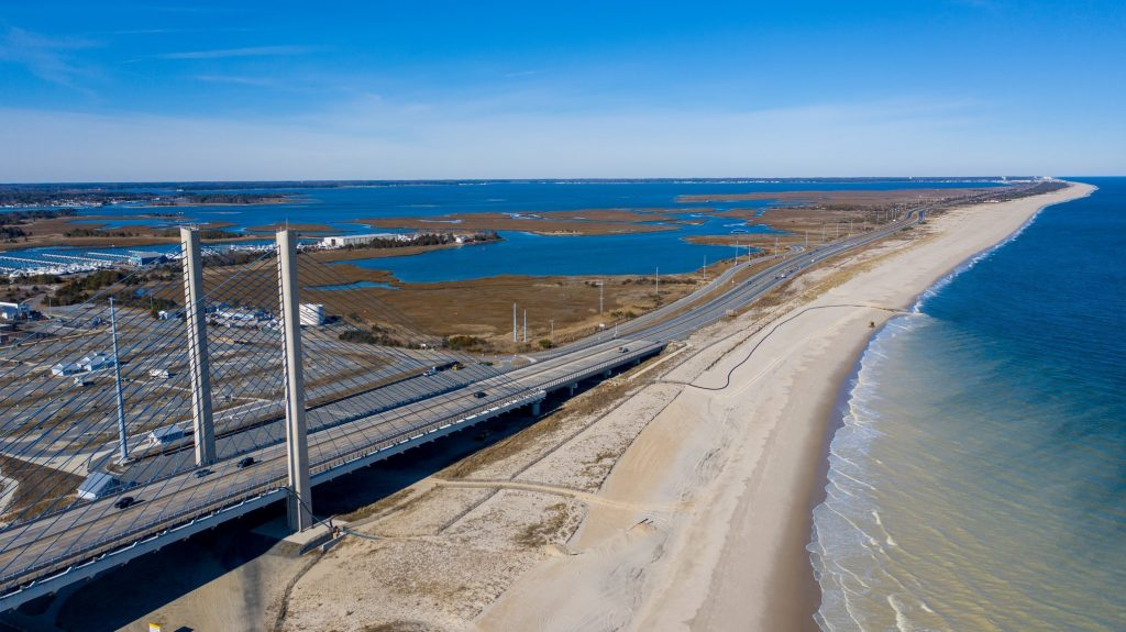 The beach on the north side of Indian River Inlet. Aerial Photograph by Cody Croswell.