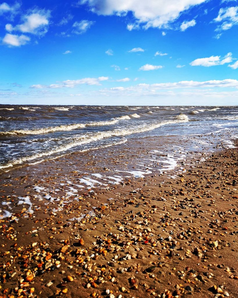 Photo of Delaware Bay water lapping at a beach