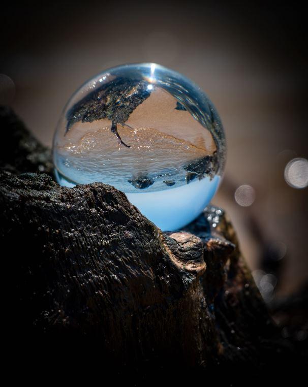 Photo through a crystal globe