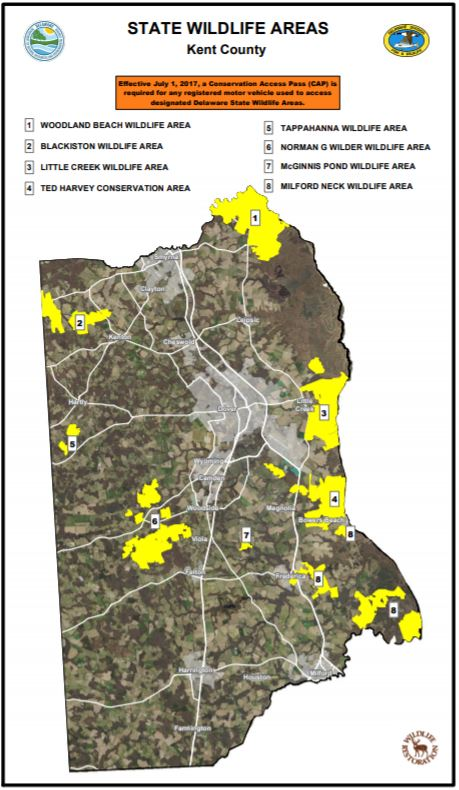 A map of wildlife areas in Kent County Delaware