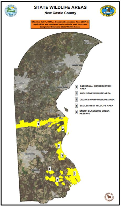 A map of wildlife areas in New Castle County, Delaware