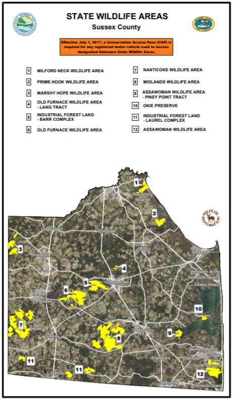 A map of wildlife areas in Sussex County Delaware
